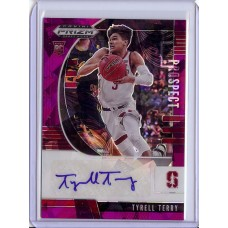 2020-21 Prizm Draft Picks Tyrell Terry #81 Prospect Autographs Purple Ice /99 Stanford Cardinal/Dallas Mavericks